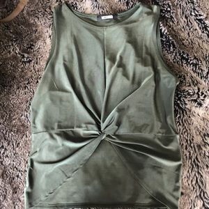 Misguided Olive Satin Stretch crop top